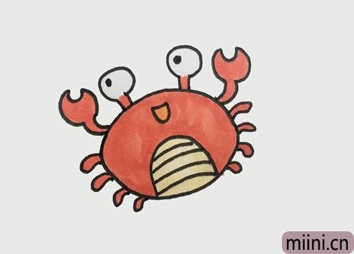 巨蟹座大螃蟹简笔画步骤教程