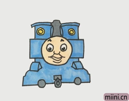 托马斯火车头简笔画步骤教程