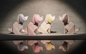 【折纸-教程】双色设计的小狗,可爱诶,还挺简单