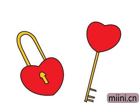 漂亮的心形锁+钥匙简笔画步骤教程