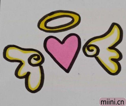 爱心天使简笔画步骤教程