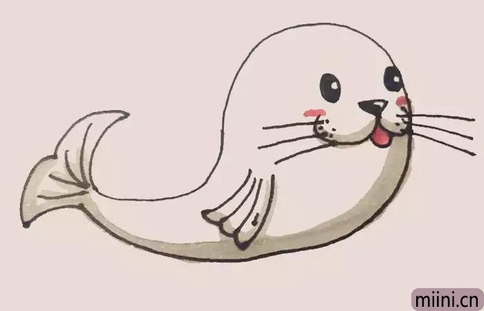 可爱的海豹简笔画步骤教程