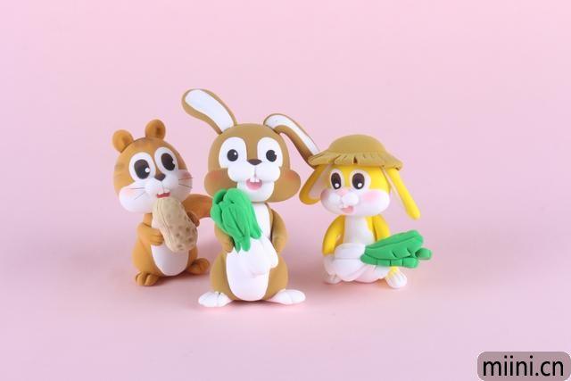 可爱的三只小兔子的粘土制作步骤教程