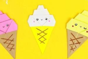 冰淇淋书签的折纸剪纸制作步骤教程