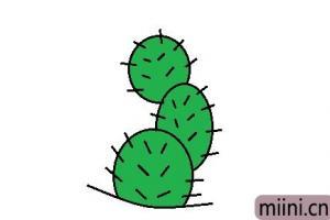沙漠里的植物仙人掌的简笔画步骤教程