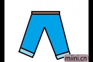 蓝色的裤子简笔画步骤教程