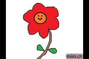 露出笑脸的小红花简笔画步骤教程