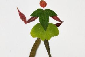 用树叶子来制作一个正在跑步的运动员