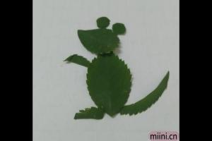 站起来的老鼠树叶贴画步骤教程