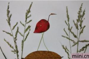 用树叶制作一只火烈鸟的步骤教程