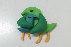 鸟妈妈和小鸟宝宝的粘土制作步骤教程