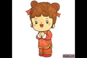 春节给叔叔阿姨拜年的小女孩简笔画步骤教程