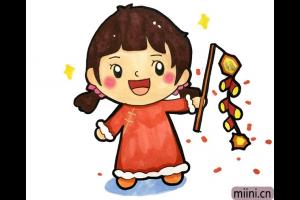 春节放鞭炮的小女孩简笔画步骤教程