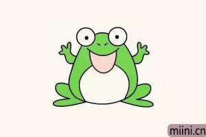 开怀大小的青蛙简笔画步骤教程
