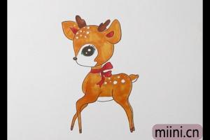 一只小梅花鹿的简笔画步骤教程