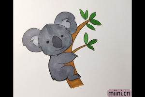 抱着大树的考拉简笔画步骤教程