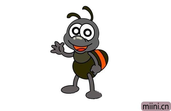 挥手的卡通蚂蚁简笔画