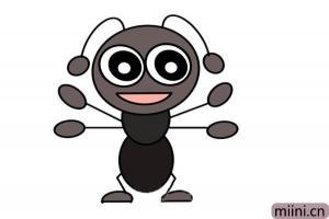 手舞足蹈的小蚂蚁简笔画步骤教程
