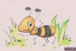 躲在草丛里的小蚂蚁简笔画步骤教程