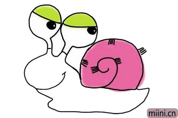 彩色卡通蜗牛简笔画