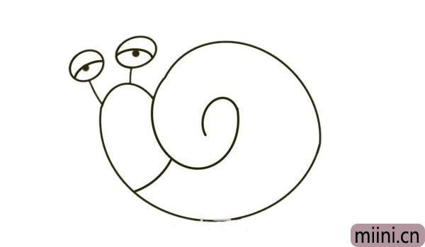 卡通蜗牛爷爷简笔画