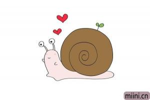 小爱心的蜗牛简笔画步骤教程图解