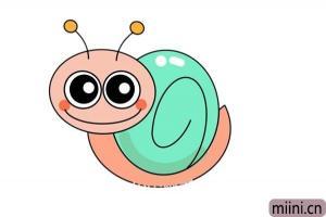 卡通蜗牛画像简笔画步骤教程图解