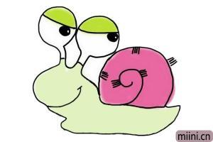 炫彩的蜗牛水彩笔画步骤教程