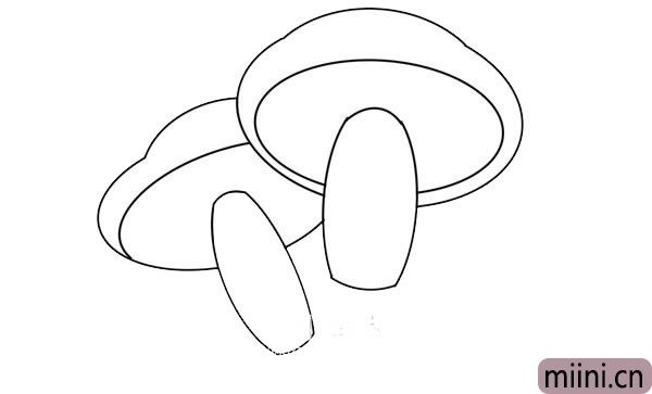 彩色蘑菇简笔画