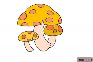 卡通黄色小蘑菇简笔画步骤教程图解