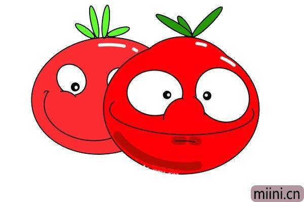 笑脸西红柿简笔画步骤教程