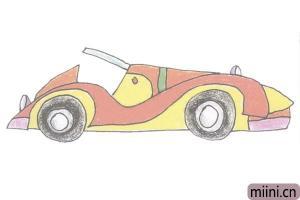 炫酷的跑车简笔画步骤教程图解