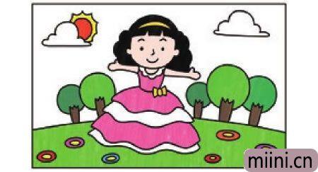 穿裙子的小女孩简笔画