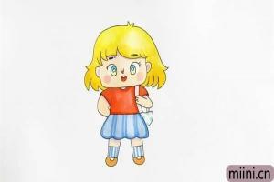 卡通漂亮的小女孩子简笔画步骤教程