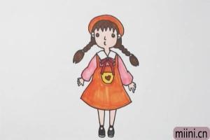 扎麻花辫的小女孩简笔画步骤教程