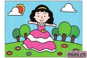 穿裙子的小公主简笔画步骤教程